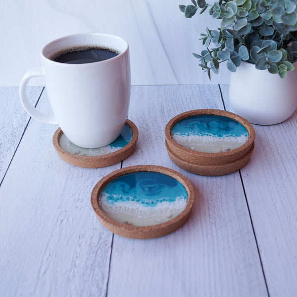 Resin + Cork Coaster Set - Tropical Lagoon w/ Seashells
