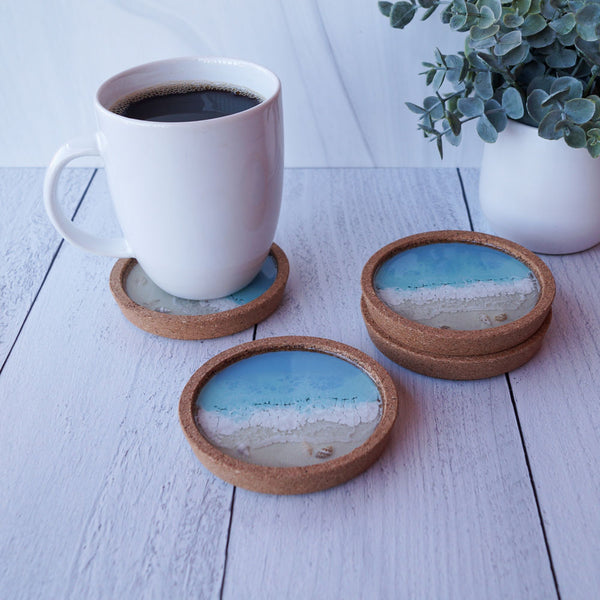 Resin + Cork Coaster Set - Coastal Cool w/ Seashells