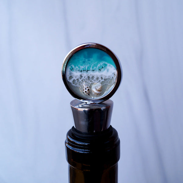 Resin Wine Bottle Stopper - Aqua Surf