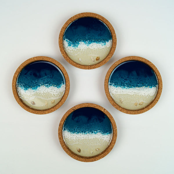Resin + Cork Coaster Set - Tidal Teal w/ Seashells
