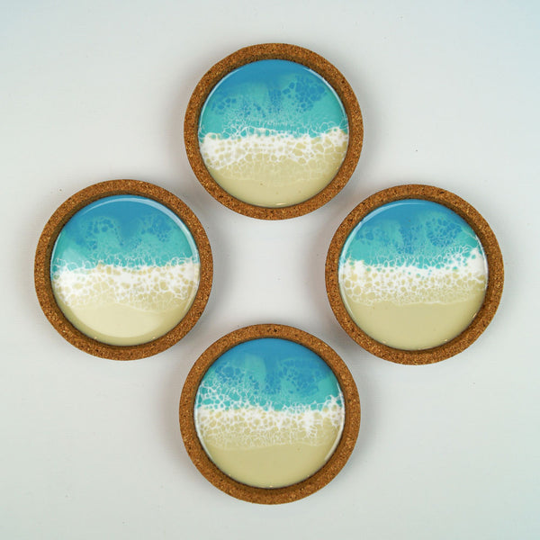 Resin + Cork Coaster Set - Coastal Cool