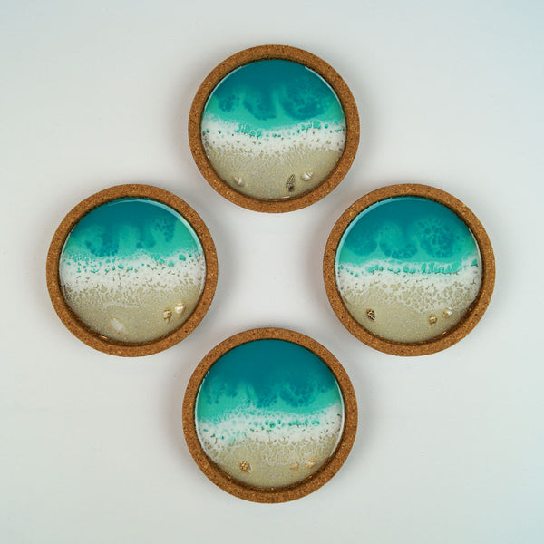 Resin + Cork Coaster Set - Aqua Surf w/ Seashells