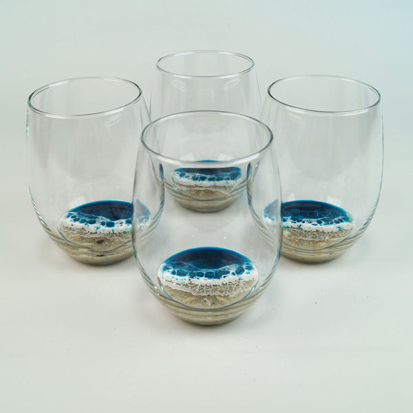 4 Large Resin Wine Glasses - Atlantis
