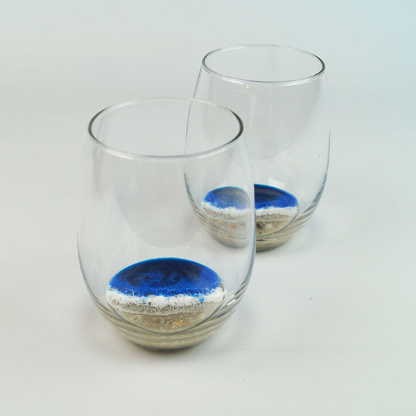 2 Large Resin Wine Glasses - Pacific