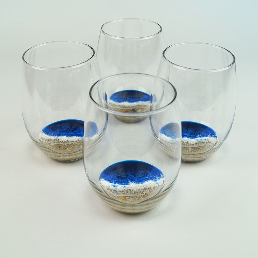 4 Large Resin Wine Glasses - Pacific