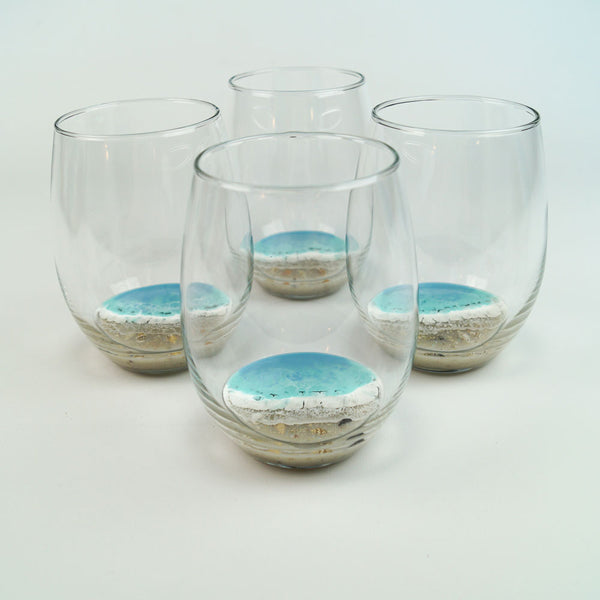 4 Large Resin Wine Glasses - Coastal Cool
