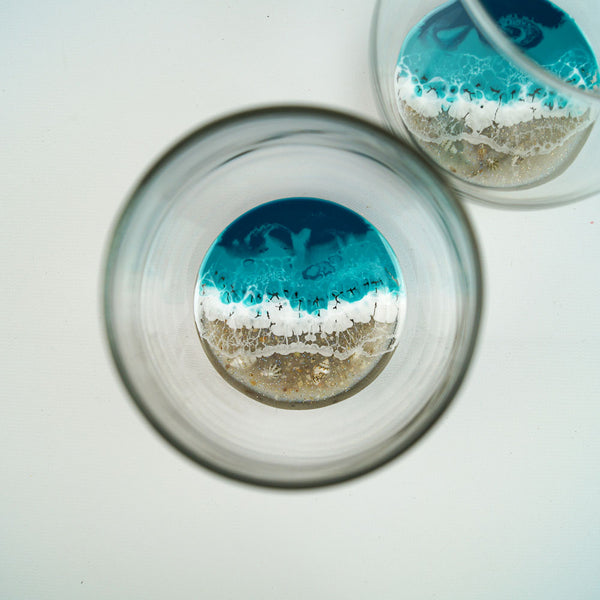 2 Large Resin Wine Glasses - Tropical Lagoon