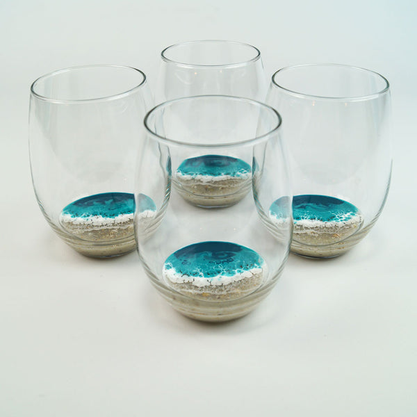 4 Large Resin Wine Glasses - Tropical Lagoon