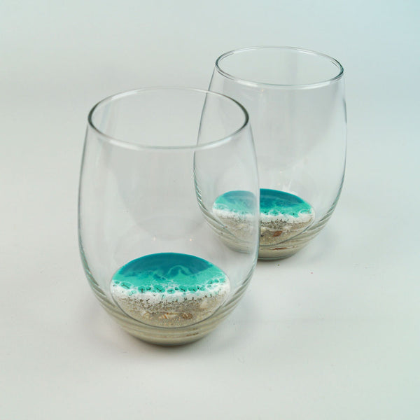 2 Large Resin Wine Glasses - Aqua Surf