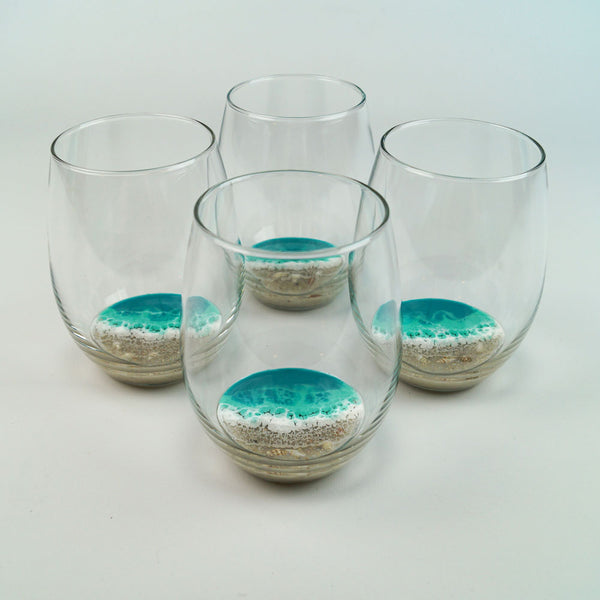 4 Large Resin Wine Glasses - Aqua Surf
