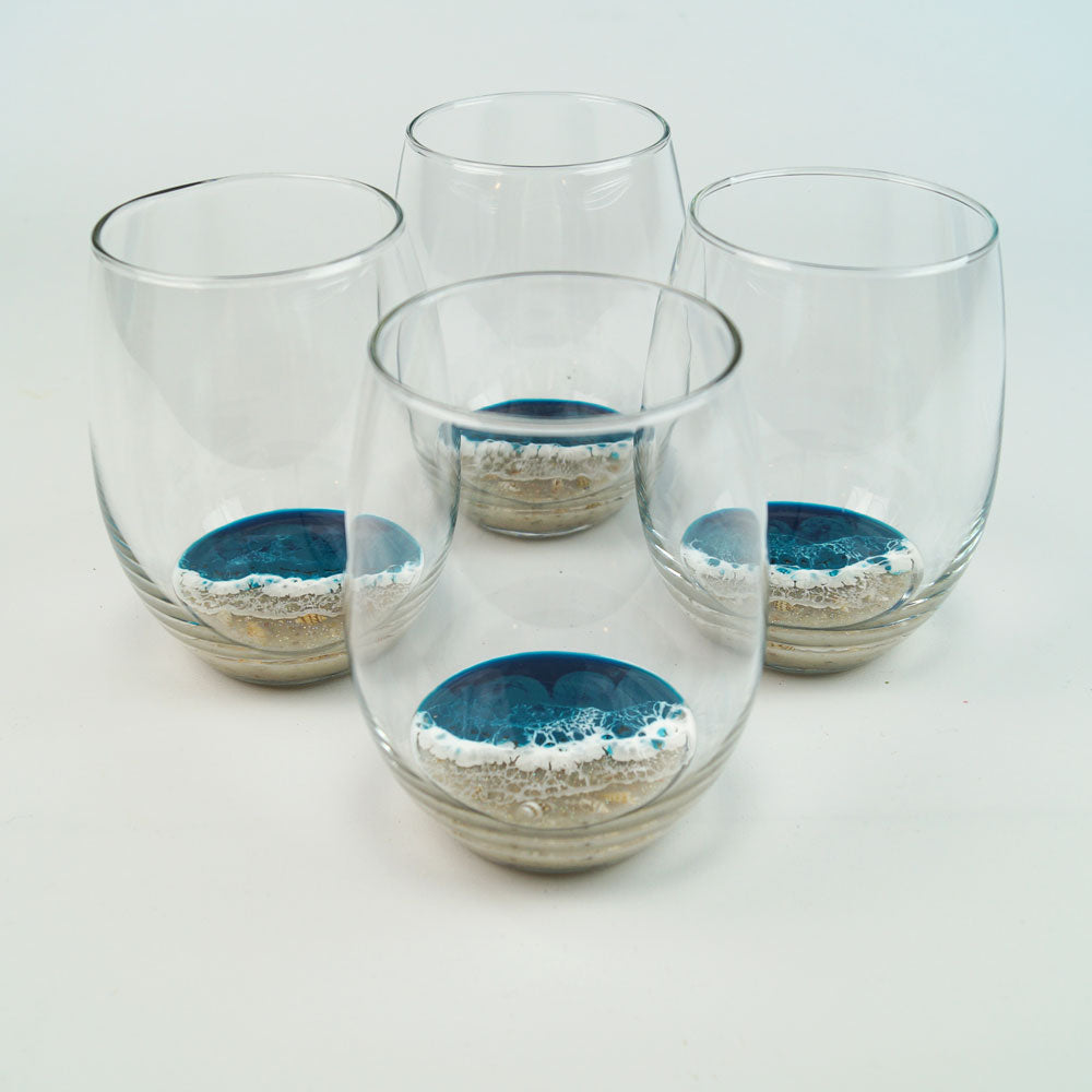 4 Large Resin Wine Glasses - Tidal Teal