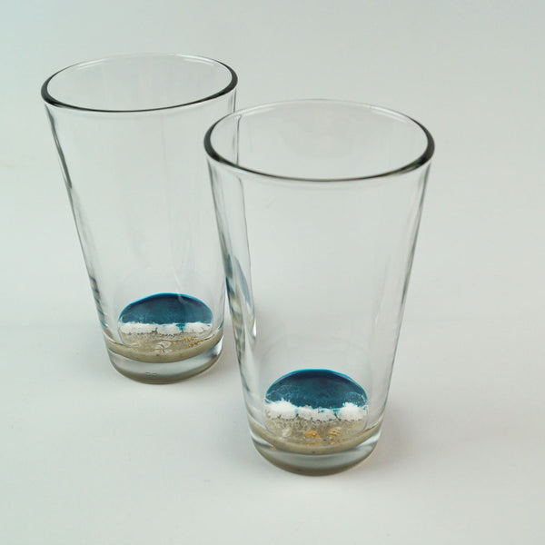 2 Resin Pint Glasses - Tidal Teal