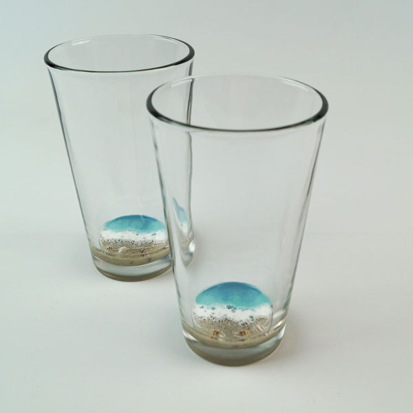 2 Resin Pint Glasses - Coastal Cool