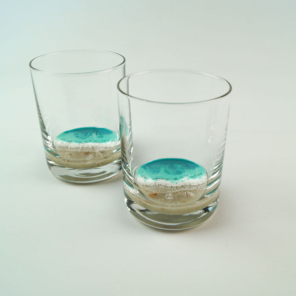 2 Resin Rocks Glasses - Aqua Surf