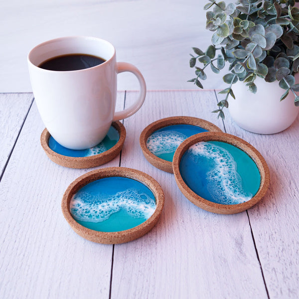 Resin + Cork Coaster Set - Tidal Wave
