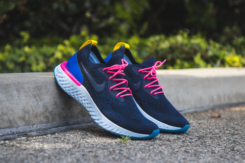 4b6f63fc1 ... purchase for the nike epic react flyknit in the white racer blue pink  blast white colorway
