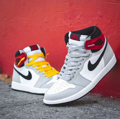 Jordan 1 With Grey and Yellow Mismatching Laces