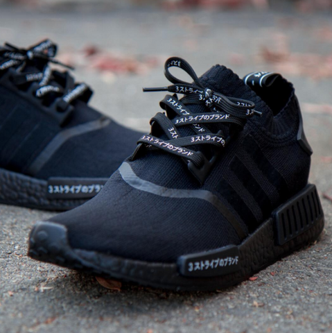 Adidas Triple Black NMD with Lace Lab Japanese Flat Laces