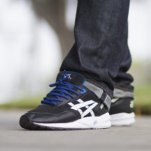 "Columbia Blue/Black Rope Laces - 45"" Length on Asics Gel Saga"