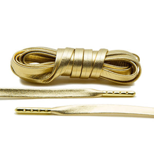 Treat your sneakers with Lace Lab's Gold Plated Gold Luxury Leather Laces.