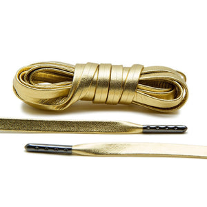 Gunmetal Tipped gold Luxury Leather Laces for the 24 karat treatment.