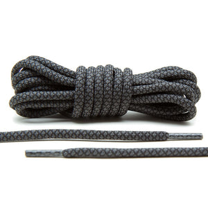 Pirate Black Shoe Laces | Grey/Black Rope Laces by Lace Lab