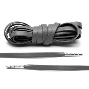 Grey Luxury Leather Laces - Silver Plated