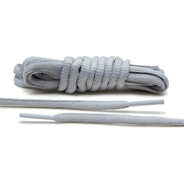 Lace Lab Light Grey Thin Oval Shoe Laces for Athletic Shoes