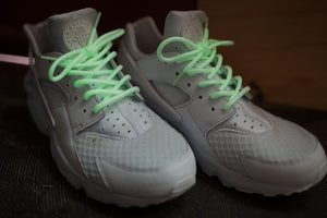 "Glow In The Dark Rope Laces - 45"" Length on Nike Huarache's."