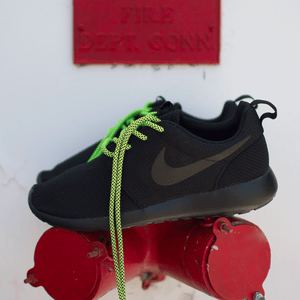 "Volt/Black Rope Laces - 36"" Length on Nike Roshe One"