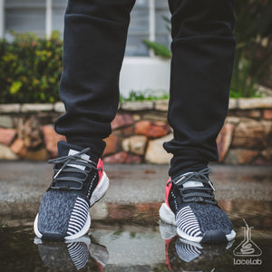 "Black 3M Laces on Adidas EQT 91/17 - 45"" lace length"