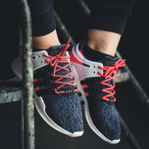 "Infrapink/Black Rope Laces on Adidas EQT Support - 45"" lace length"