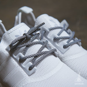 Black & White Rope Laces on Adidas NMD - 30""