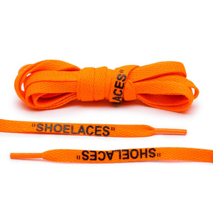 "Off-White Style ""SHOELACES"" Neon Orange with Black Text - by Lace Lab"