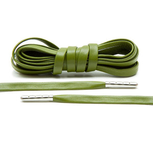 Olive Luxury Leather Laces - Silver Plated