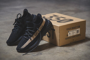 "Pirate Black Rope Laces - 45"" Length on Yeezy 350 Boost V2 Oreo"