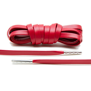 Treat your sneakers with Lace Lab's Silver Plated Red Luxury Leather Laces.