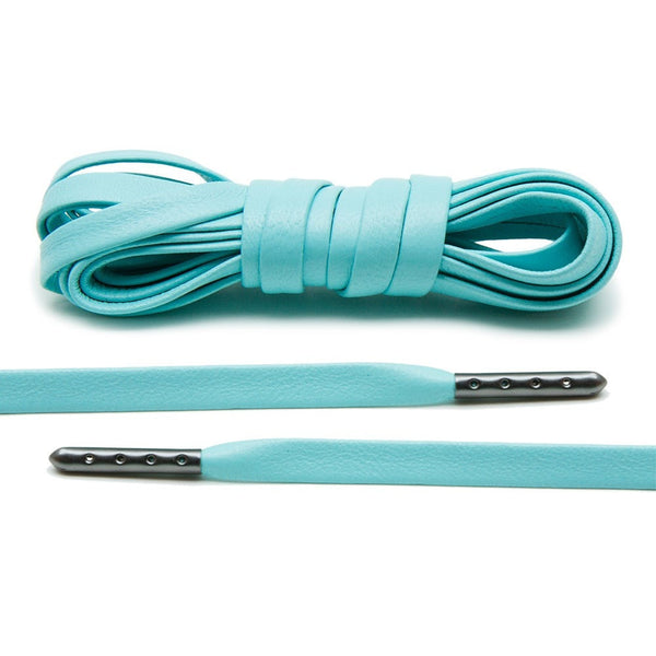 Treat your sneakers with Lace Lab's Gunmetal Plated Mint Luxury Leather Laces.