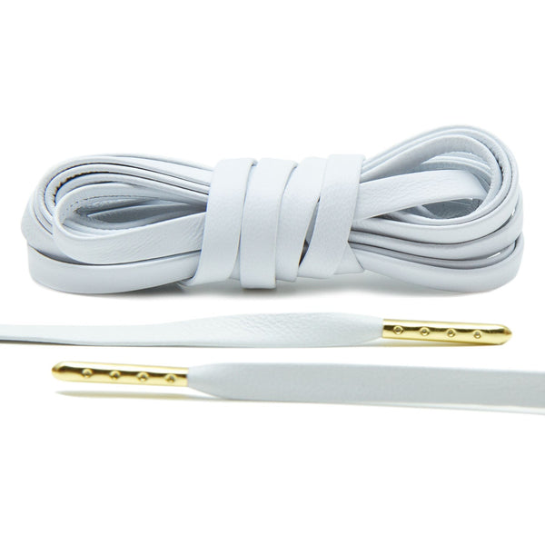 Treat your sneakers with Lace Lab's Gold Plated White Luxury Leather Laces.