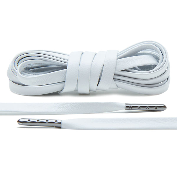 When you sneakers need the luxury treatment, pick up a pair of White Gunmetal Plated Luxury Leather Laces.