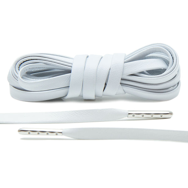 Treat your sneakers with Lace Lab's Silver Plated White Luxury Leather Laces.