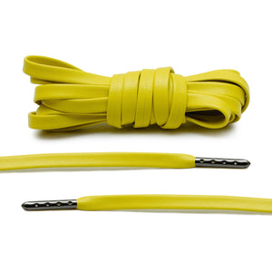 Yellow Luxury Leather Laces - Gunmetal Plated