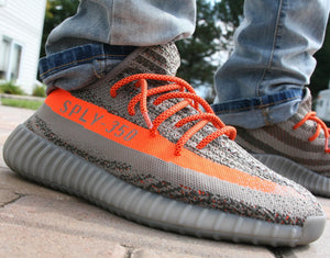 "Red/Orange Rope Laces - 45"" Length on Adidas Yeezy 350 Boost v2 Beluga. @AndrewMeyers_"