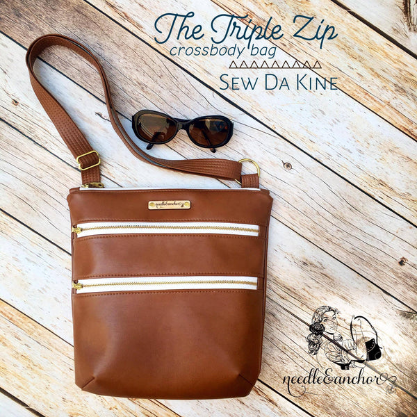The Triple Zip - Crossbody PDF Pattern – Sew Da Kine