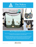 Nakoa Convertible Backpack PDF Pattern - Handmade Vegan Cork Fabric Bags