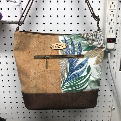 Pakeke - Blue Leaves - Handmade Vegan Cork Fabric Bags