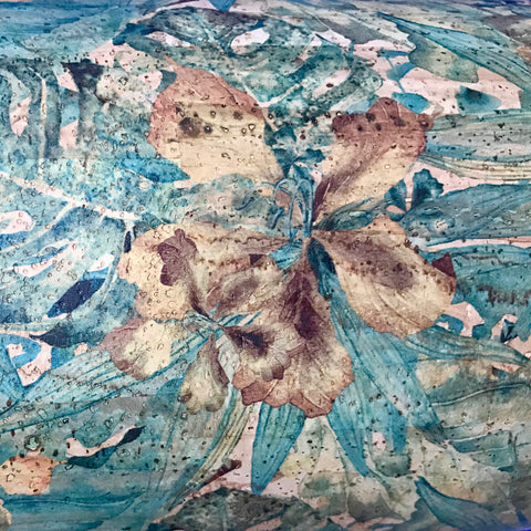 Blue Water Color Hibiscus Print Cork Fabric - Handmade Vegan Cork Fabric Bags