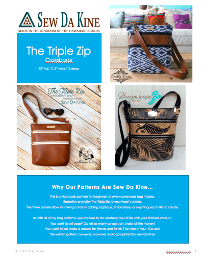 The Triple Zip - Crossbody PDF Pattern - Handmade Vegan Cork Fabric Bags