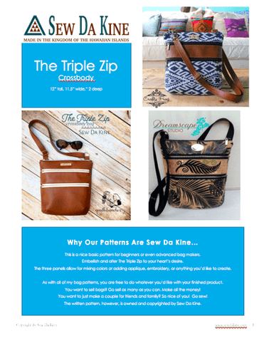 The Triple Zip - Crossbody PDF Pattern