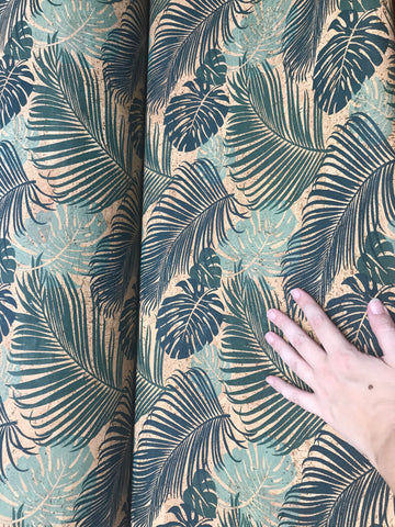 Tropical Blue and Green - Monsteria and Fronds Print Cork Fabric - Handmade Vegan Cork Fabric Bags